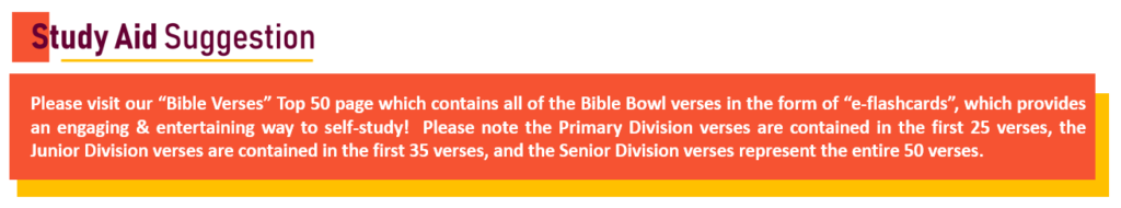 Bible Bowl STUDY AID Suggestion (for Verses) Capture