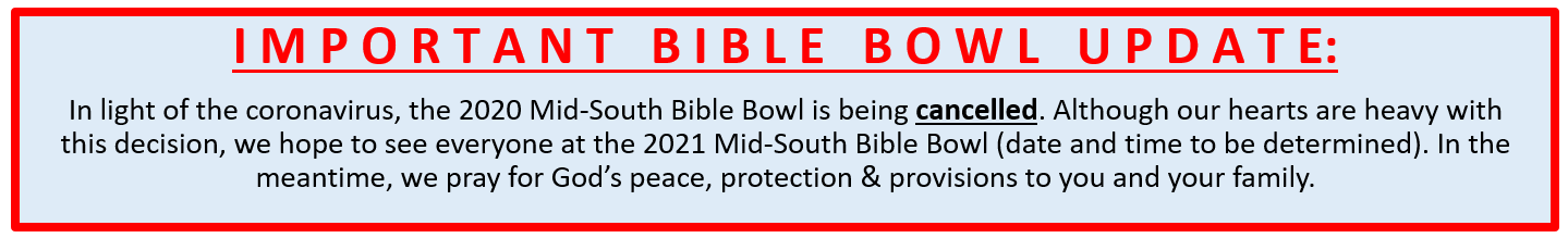 2020 Bible Bowl Cancellation image